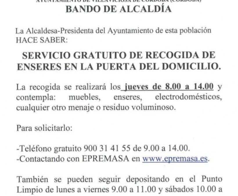 Bando de Alcaldía:recogida gratuita de enseres a domicilio