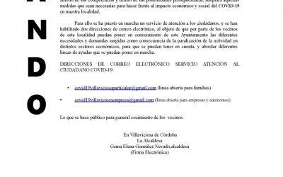 BANDO DE ALCALDÍA: Nuevos emails para comunicar al Ayto necesidades de familias y autónomos