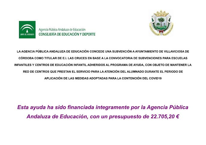 SUBVENCION CONCEDIDA AL AYUNTAMIENTO DE VILLAVICIOSA PARA LA ESCUELA INFANTIL LAS CRUCES MEDIDAS COVID 19 1