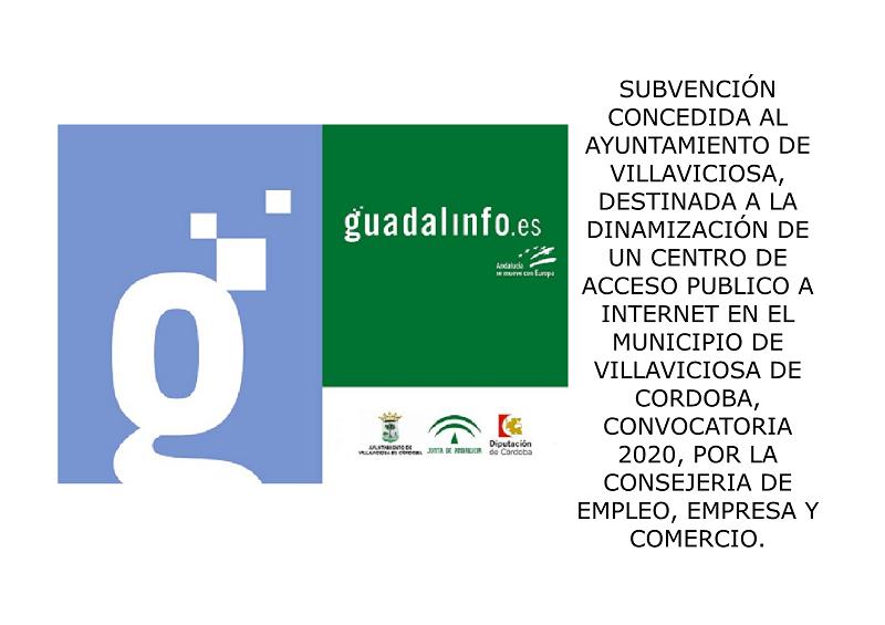 SUBVENCION CENTRO GUADALINFO CONSEJERIA DE EMPLEO, EMPRESA Y COMERCIO 1