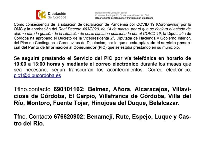 Servicio del Punto de Información al Consumidor por teléfono y email