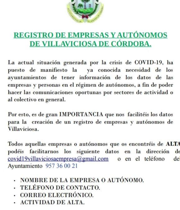Cartel Registro Empresas y Autónomos
