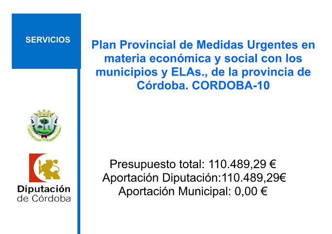 Plan Provincial de Medidas Urgentes en materia económica y social con los municipios y ELAs., de la provincia de Córdoba. CORDOBA-10 1