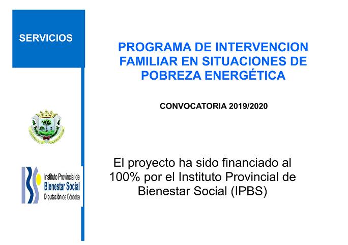 PROGRAMA POBREZA ENERGETICA 2019/2020 DEL INSTITUTO PROVINCIAL DE BIENESTAR SOCIAL 1