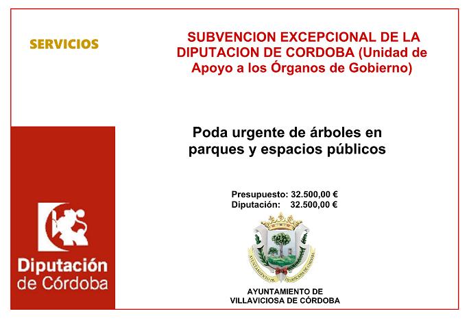 SUBVENCION DIPUTACION DE CORDOBA PODA URGENTE DE ARBOLES EN PARQUES Y ESPACIOS PUBLICOS
