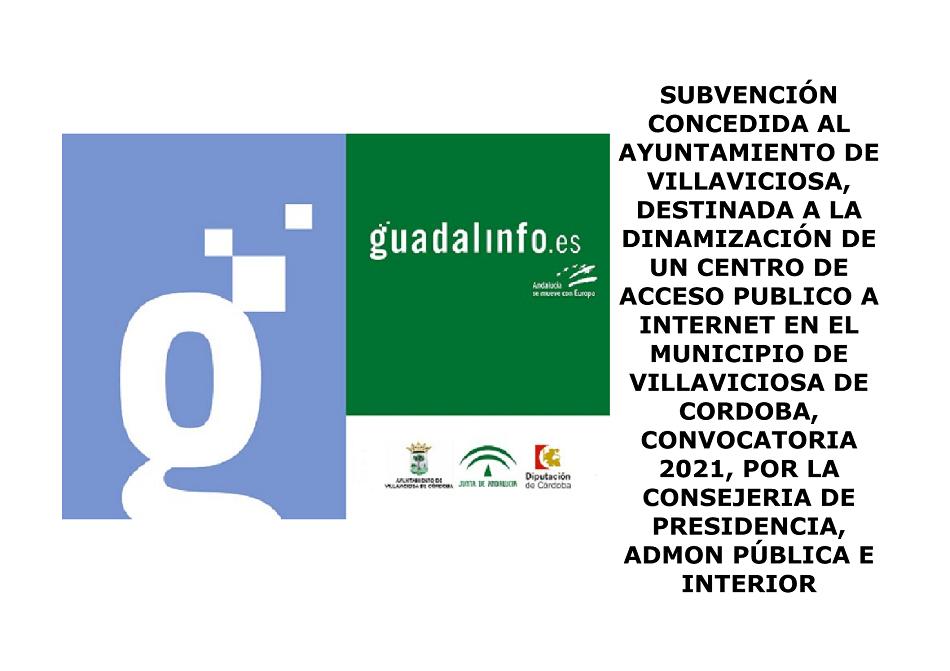 Subvenciones destinadas a la dinamización de la Red de Centros de Acceso Público a Internet en municipios de Andalucía.(Guadalinfo)