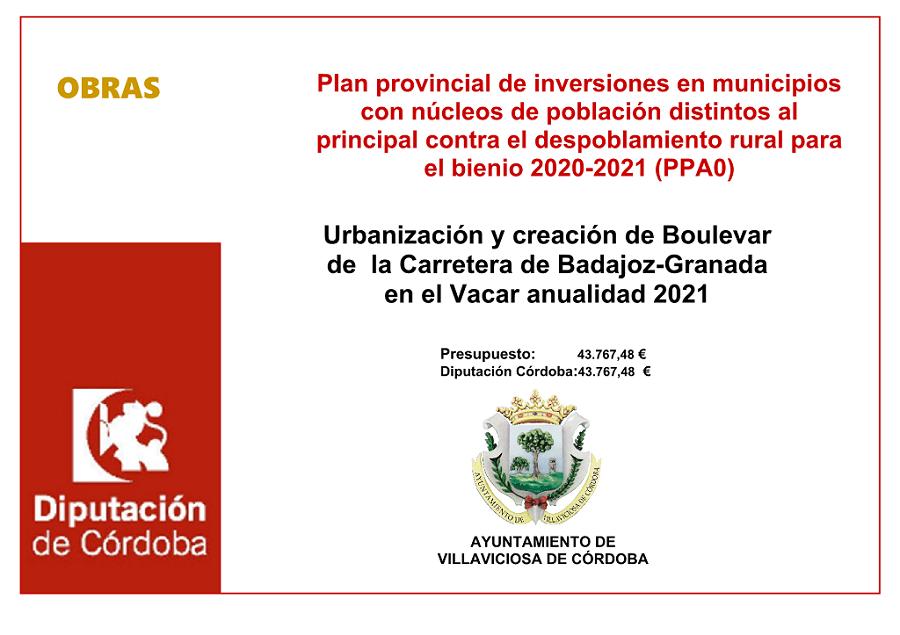 Plan provincial de inversiones en municipios con núcleos de población distintos al principal contra el despoblamiento rural para el bienio 2020-2021