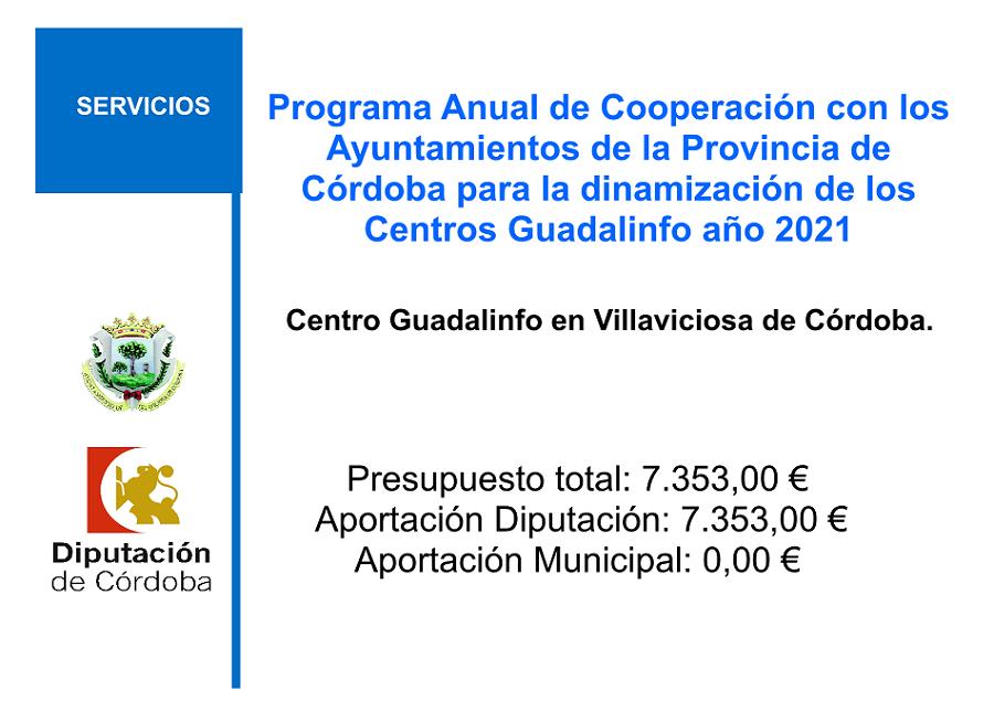 Programa anual de colaboración con los Ayuntamientos de la provincia de Córdoba, para la dinamización de los Centros Guadalinfo