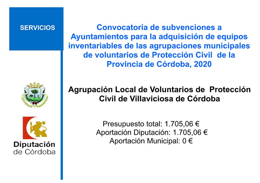 subvenciones a Ayuntamientos para la adquisición de equipos inventariables de las agrupaciones municipales de voluntarios de Protección Civil de la Provincia de Córdoba, 2020