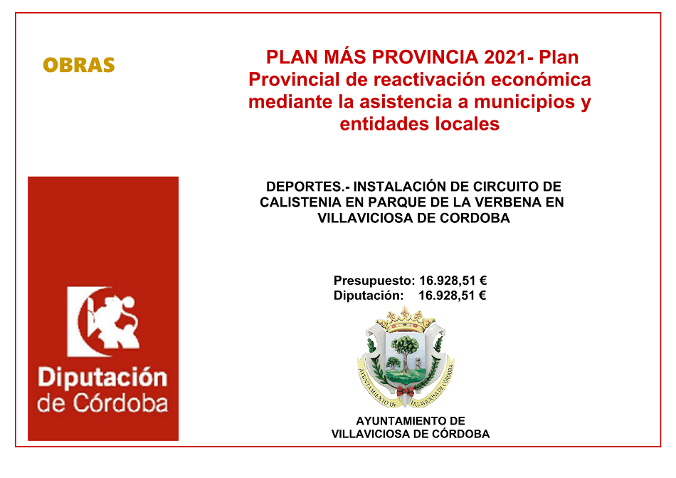 DEPORTES.- INSTALACIÓN DE CIRCUITO DE CALISTENIA EN PARQUE DE LA VERBENA EN VILLAVICIOSA DE CORDOBA
