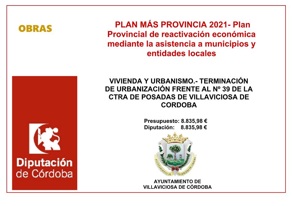 VIVIENDA Y URBANISMO.- TERMINACIÓN DE URBANIZACIÓN FRENTE AL Nº 39 DE LA CTRA DE POSADAS DE VILLAVICIOSA DE CORDOBA