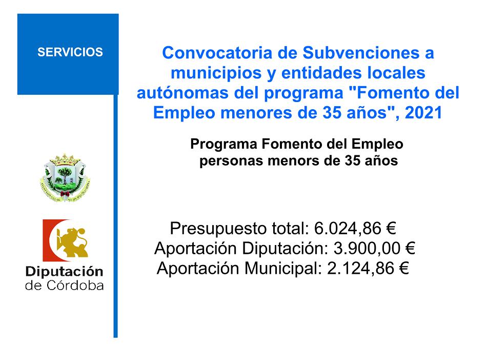 """Convocatoria de Subvenciones a municipios y entidades locales autónomas del programa """"Fomento del Empleo menores de 35 años"""", convocatoria 2021"""