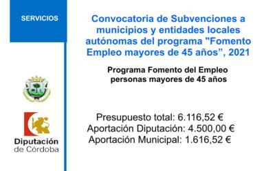 """Convocatoria de Subvenciones a municipios y entidades locales autónomas del programa """"Fomento Empleo mayores de 45 años"""" convocatoria 2021"""