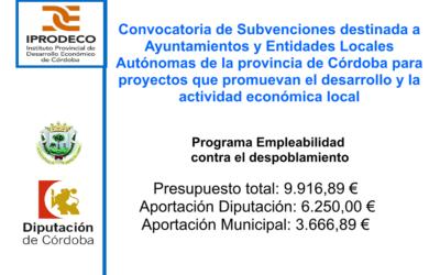 Convocatoria de Subvenciones destinada a Ayuntamientos y Entidades Locales Autónomas de la provincia de Córdoba para proyectos que promuevan el desarrollo y la actividad económica local programa empleabilidad contra el despoblamiento