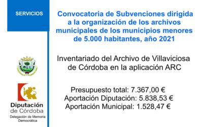 Convocatoria de Subvenciones dirigida a la organización de los archivos municipales de los municipios menores de 5.000 habitantes, año 2021