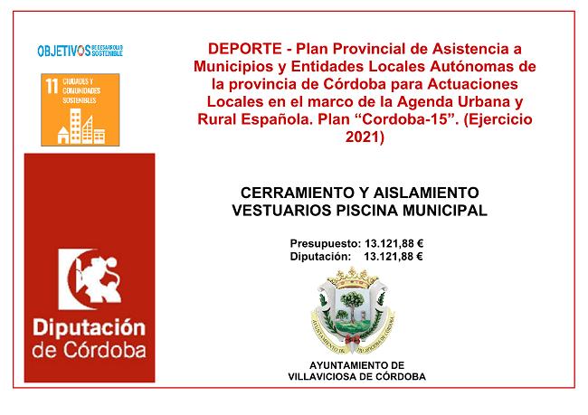 """Plan Provincial de Asistencia a Municipios y Entidades Locales Autónomas de la provincia de Córdoba para actuaciones locales en el marco de la Agenda Urbana Y Rural Española. Plan """"CORDOBA 15"""". (Ejercicio 2021)"""